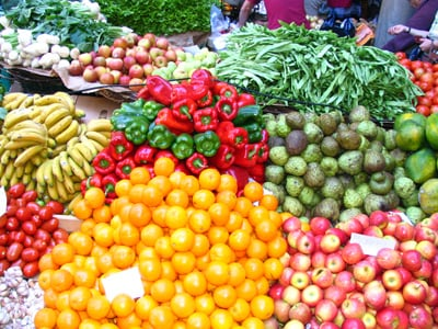 fruits and vegetables in farmers market