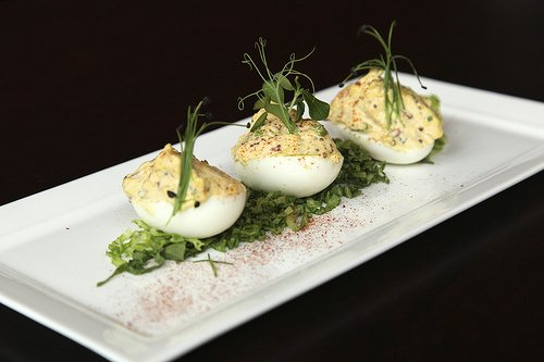 Signature Deviled Eggs at the Fat Goose