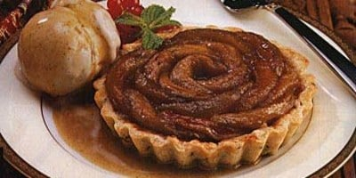 Apple and Caraway Tartlets with Cinnamon Clove Ice Cream and Cider Caramel Sauce